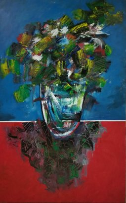 """BLUE AND RED oil on canvas 48"""" x 24"""" PHuot"""