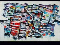 ''JEUX D'ECHELLES'' oil on canvas 36''x 48'' P Huot