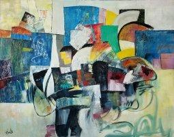 ''LES BRAS PLEINS DE CADEAUX'' oil on canvas 48'' X 60'' P Huot