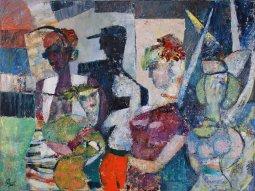 ''LES DAMES ET LEUR CHAPEAUX'' oil  on canvas by Poierre Huot