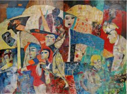 BITS AND PIECES diptych oil/huile 72''x96'' by Pierre Huot