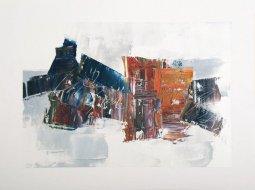 Black Man Swimming, oil on paper by Pierre Huot