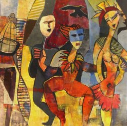 Charade oil on canvas 48' x 48'` by Pierre Huot