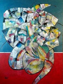 LA FAMILLE oil on canvas mix medium on canvas 48'' x 36'' PHuot