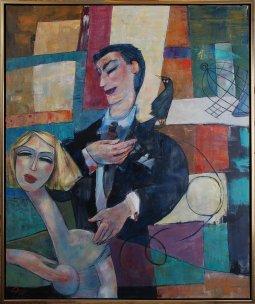 Le Gardien oil  on canvas  48'' x  40'' by Pierre Huot