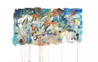 ''SPLASH OF ORANGE''  oil on paper 22'' x 36'' P Huot f